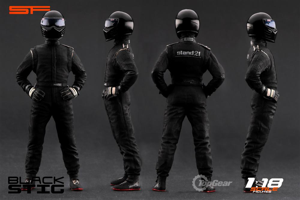 scale figures top gear stig figure black sf118003 in 1 18 scale mdiecast. Black Bedroom Furniture Sets. Home Design Ideas