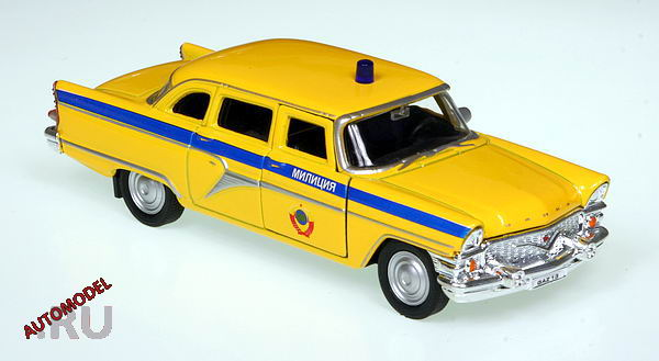 Welly gaz 13 chaika police yellow in 1 43 scale mdiecast