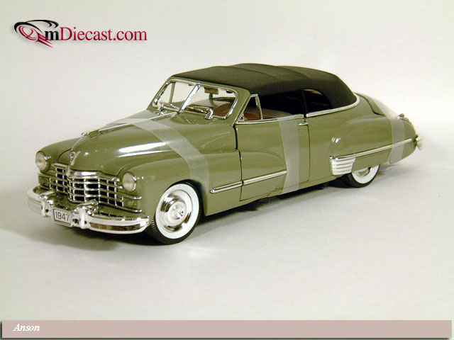 Anson: 1947 Cadillac Series 62 Convertible w/ Black Softtop - Green Meta (30345) in 1:18 scale