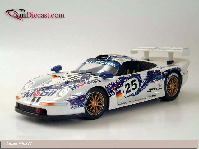 anson 1996 porsche 911 gt1 25 mobil 1 30322 in 1 18 scale mdiecast. Black Bedroom Furniture Sets. Home Design Ideas