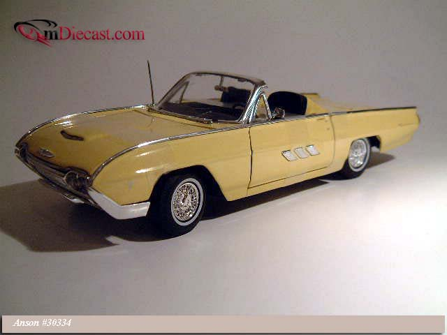 Anson: 1963 Ford Thunderbird Sport Roadster - Pale Yellow (30334) in 1:18 scale