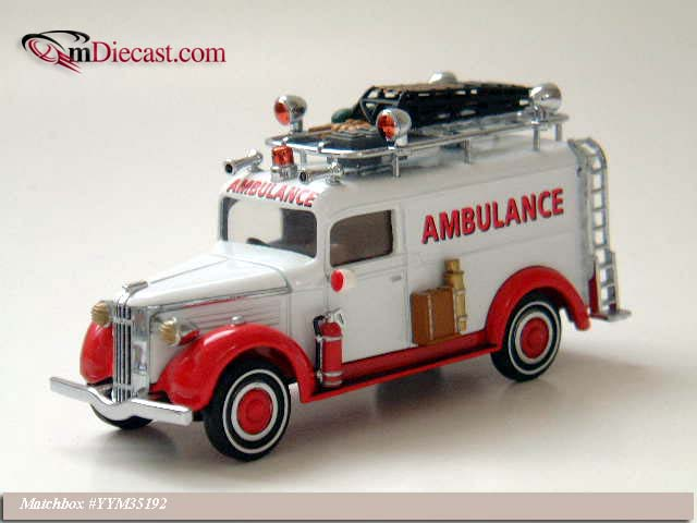 Matchbox: 1937 GMC Van Ambulance (YYM35192) в 1:43 масштабе