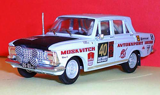 MD-Studio: Moskvich 412 Rally Marathon London-Mexico 1970 #40 (01-002) in 1:43 scale