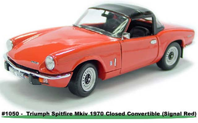 Sun Star: 1970 Triumph Spitfire MK IV Closed Convertible - Signal Red (1050) im 1:18 maßstab