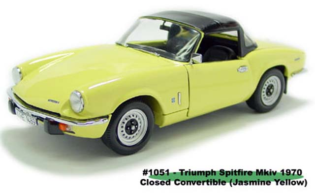 Sun Star: 1970 Triumph Spitfire MK IV Closed Convertible - Jasmine Yellow (1051) im 1:18 maßstab