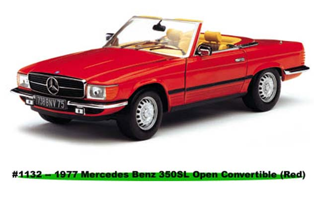 Sun Star: 1977 Mercedes-Benz 350 SL Open Convertible - Red (1132) in 1:18 scale