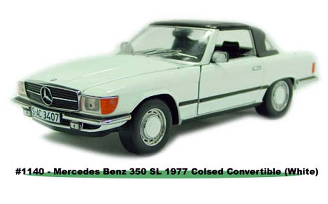 Sun Star: 1977 Mercedes-Benz 350 SL Closed Convertible - White (1140) in 1:18 scale