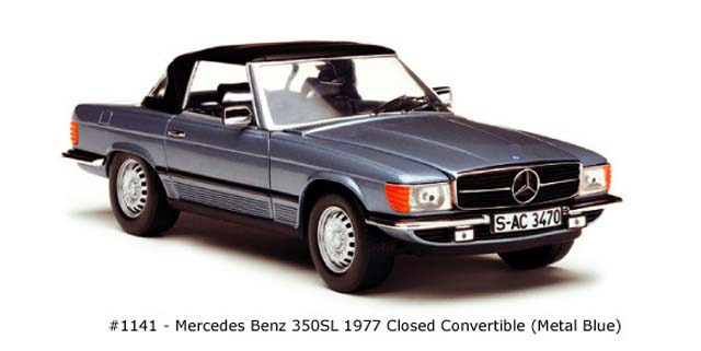 Sun Star: 1977 Mercedes-Benz 350 SL Closed Convertible - Metal Blue (1141) im 1:18 maßstab