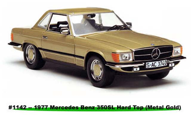 Sun Star: 1977 Mercedes-Benz 350 SL Hard Top Coupe - Metal Gold (1142) im 1:18 maßstab