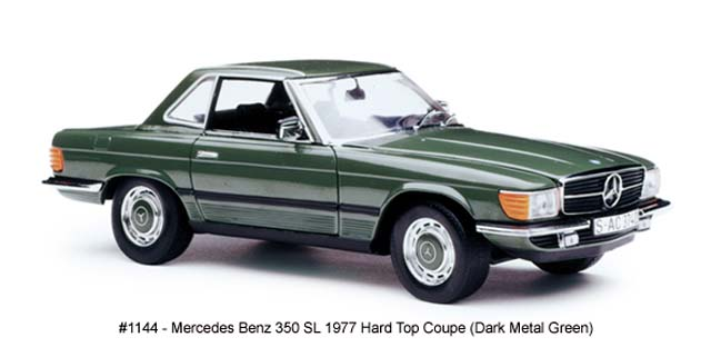 Sun Star: 1977 Mercedes-Benz 350 SL Hard Top Coupe - Dark Metal Green (1144) in 1:18 scale