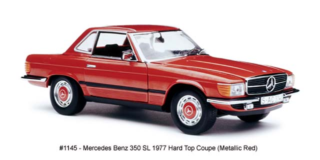 Sun Star: 1977 Mercedes-Benz 350 SL Hard Top Coupe - Metallic Red (1145) in 1:18 scale