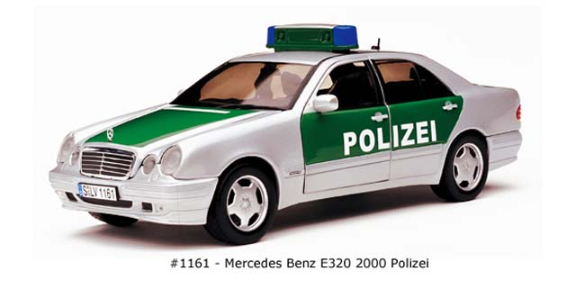 Sun Star: 2000 Mercedes-Benz E320 Polizei (1161) в 1:18 масштабе