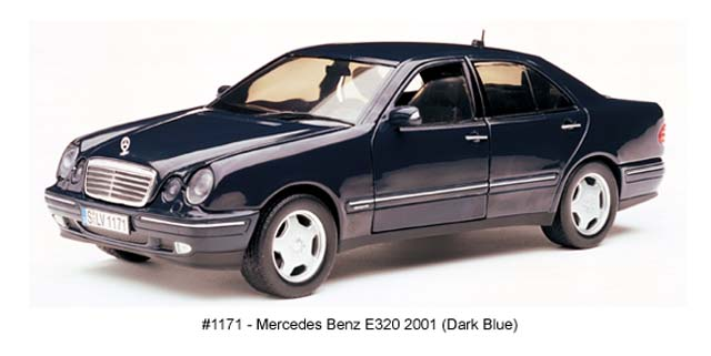 Sun Star: 2001 Mercedes-Benz E320 - Dark Blue (1171) в 1:18 масштабе