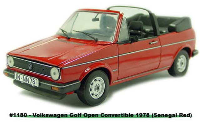 Sun Star: 1978 Volkswagen Gold Open Convertible - Senegal Red (1180) in 1:18 scale