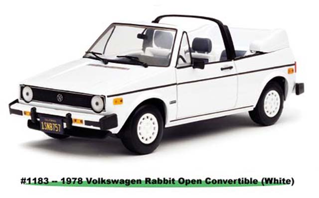 Sun Star: 1978 Volkswagen Rabit Open Converible - White (1183) im 1:18 maßstab