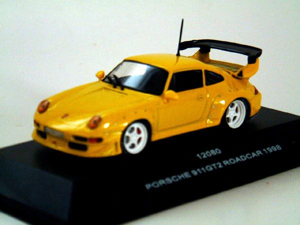 sun star 1998 porsche 911 gt2 roadcar yellow 12080 in 1 43 scale mdiecast. Black Bedroom Furniture Sets. Home Design Ideas