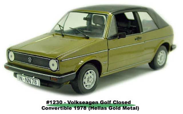 Sun Star: 1978 Volkswagen Gold Closed Convertible - Hellas Gold Metal (1230) im 1:18 maßstab
