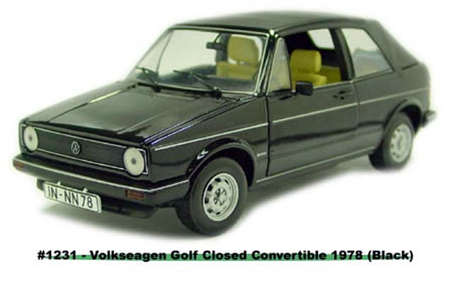 Sun Star: 1978 Volkswagen Gold Closed Convertible - Black (1231) в 1:18 масштабе