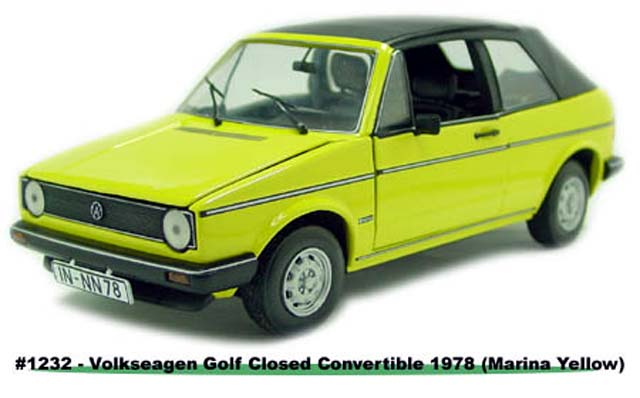 Sun Star: 1978 Volkswagen Gold Closed Convertible - Marina Yellow (1232) in 1:18 scale