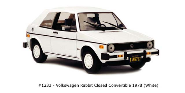 Sun Star: 1978 Volkswagen Rabot Closed Convertible - White (1233) в 1:18 масштабе