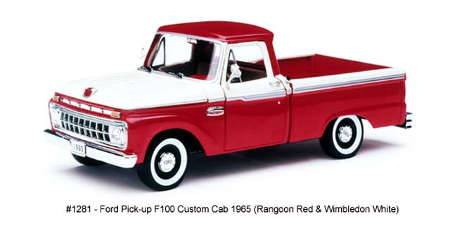 Sun Star: 1965 Ford F-100 Pick Up Custom Cab Rangoon - Red/Wimbledon White (1281) in 1:18 scale