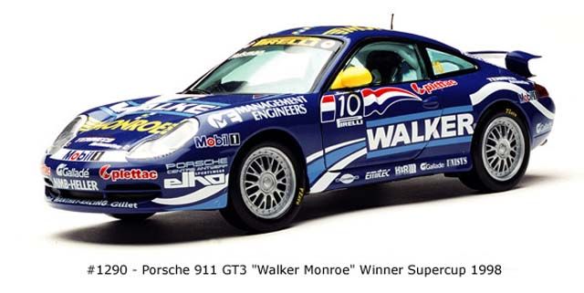Sun Star: 1998 Porsche 911 GT3 Walker Monroe (1290) in 1:18 scale