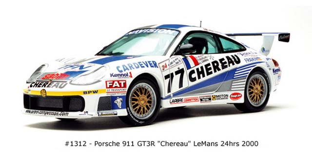 Sun Star: 2000 Porsche 911 GT3R Chereau (1312) in 1:18 scale
