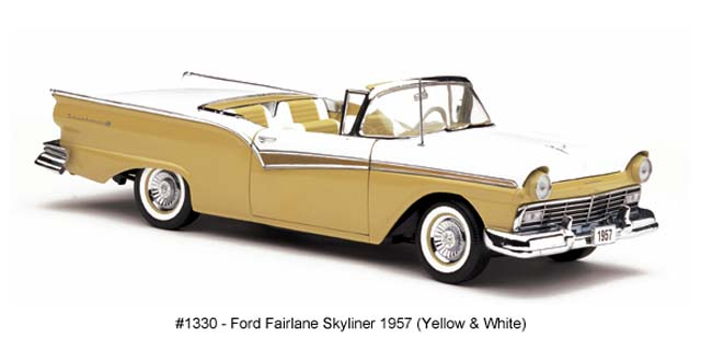 Sun Star: 1957 Ford Fairlane Skyliner - Inca Gold (1330) in 1:18 scale