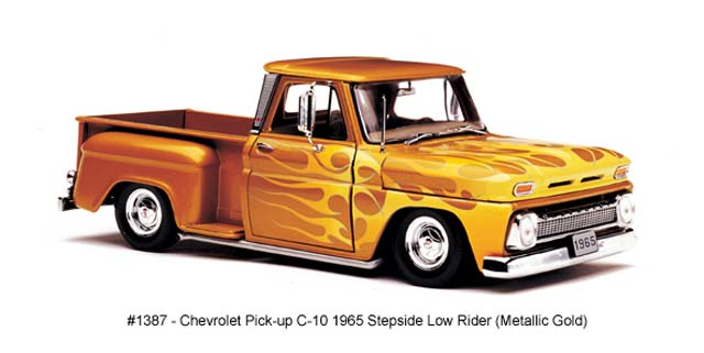 Sun Star: 1965 Chevrolet C-10 Stepside Pickup Low Rider - Metallic Gold (1387) в 1:18 масштабе