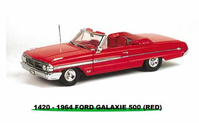 Sun Star: 1964 Ford Galaxie 500 Open Convertible - Ragoon Red (1420) in 1:18 scale