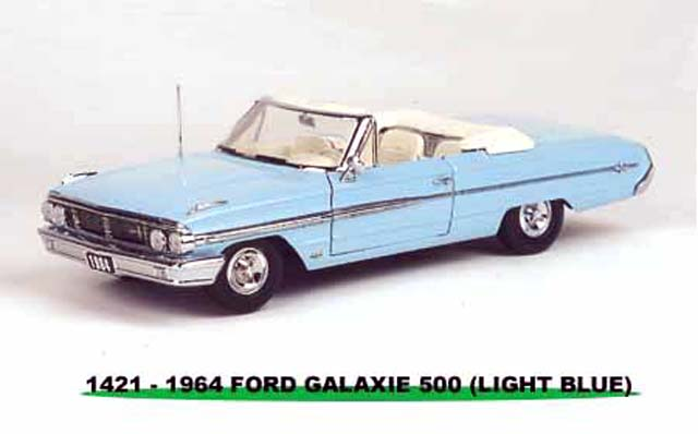 Sun Star: 1964 Ford Galaxie 500 Open Convertible - Skylilght Light Blue (1421) in 1:18 scale