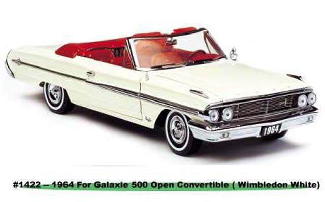 Sun Star: 1964 Ford Galaxie 500 Open Convertible - Wimbledon White (1422) in 1:18 scale