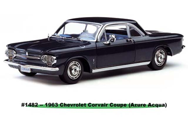 Sun Star: 1963 Chevrolet Corvair Coupe - Azure Acaua (1482) in 1:18 scale