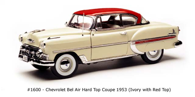 Sun Star: 1953 Chevrolet Bel Air Hard Top Coupe - Ivory w/ Red Top (1600) в 1:18 масштабе