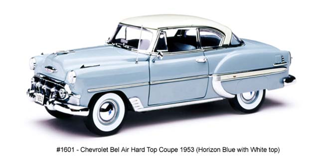 Sun Star: 1953 Chevrolet Bel Air Hard Top Coupe - Horizon Blue w/ White Top (1601) в 1:18 масштабе