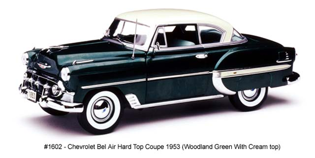 Sun Star: 1953 Chevrolet Bel Air Hard Top Coupe - Woodland Green (1602) в 1:18 масштабе