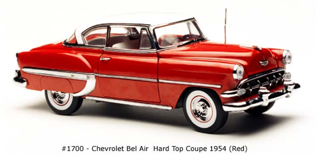 Sun Star: 1954 Chevrolet Bel Air Hard Top Coupe - Red (1700) in 1:18 scale