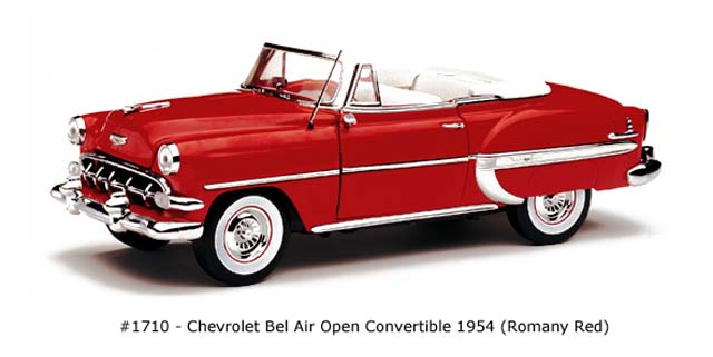 Sun Star: 1954 Chevrolet Bel Air Open Convertible - Romany Red (1710) в 1:18 масштабе
