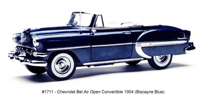 Sun Star: 1954 Chevrolet Bel Air Open Convertible - Biscayne Blue (1711) в 1:18 масштабе