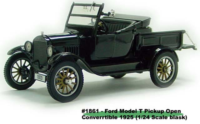 Sun Star: 1925 Ford Model T Pick Up Open Convertible - Black (1861) в 1:24 масштабе