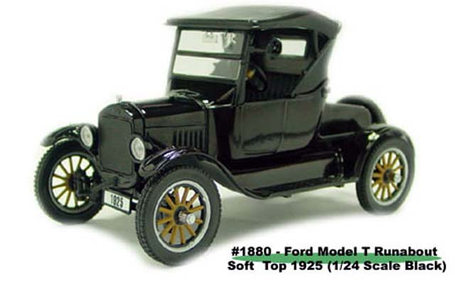 Sun Star: 1925 Ford Model T Runabout Soft Top - Black (1880) in 1:24 scale