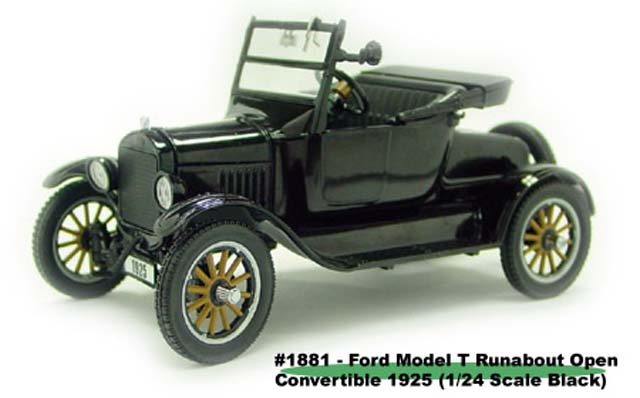 Sun Star: 1925 Ford Model T Runabout Open Convertible - Black (1881) im 1:24 maßstab