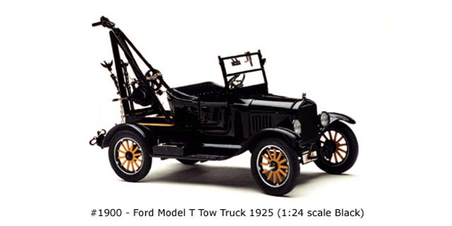 Sun Star: 1925 Ford Model T Tow Truck - Black (1900) in 1:24 scale