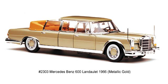 Sun Star: 1966 Mercedes-Benz 600 Landaulet - Metalic Gold (2303) in 1:18 scale