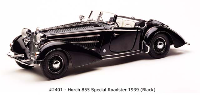 Sun Star: 1939 Horch 855 Special Roadster - Black (2401) im 1:18 maßstab