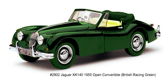 Sun Star: 1955 Jaguar XK140 Open Convertible - British Racing Green (2802) в 1:18 масштабе