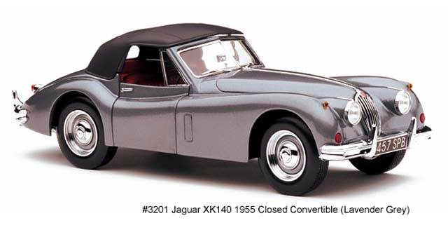 Sun Star: 1955 Jaguar XK140 Closed Convertible - Lavender Grey (3201) in 1:18 scale