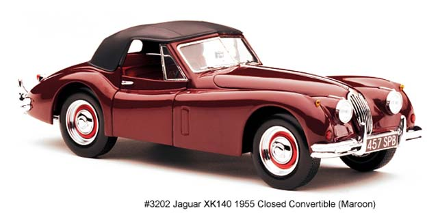 Sun Star: 1955 Jaguar XK140 Closed Convertible - Maroon (3202) в 1:18 масштабе