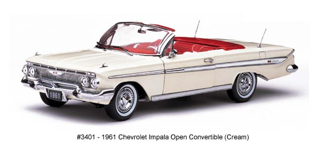 Sun Star: 1961 Chevrolet Impala Open Convertible - Cream (3401) в 1:18 масштабе