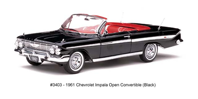 Sun Star: 1961 Chevrolet Impala Open Convertible - Black (3403) in 1:18 scale